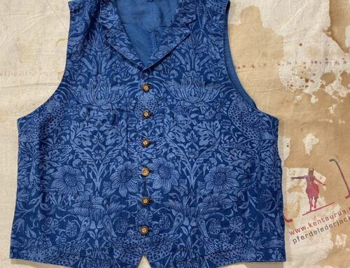 Adjustable Costume AV-045-B william morris vest indigo overdyed