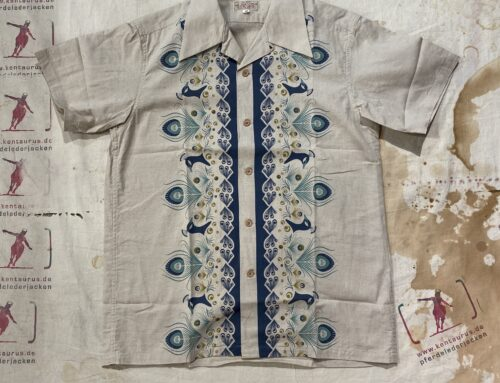 Adjustable Costume AS-100 open collar shirt beige printed cotton
