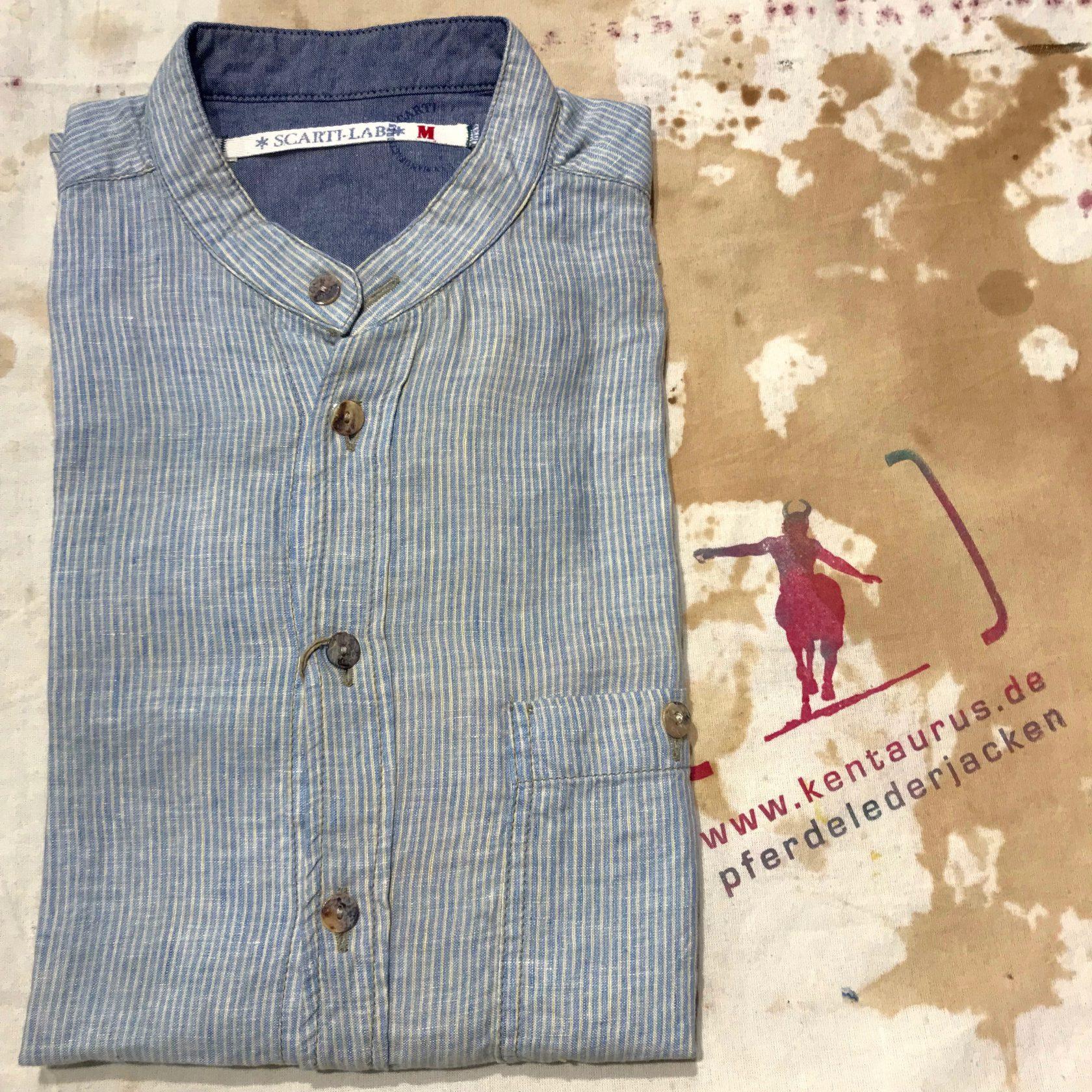Scartilab light blue 100% linen stand collar shirt