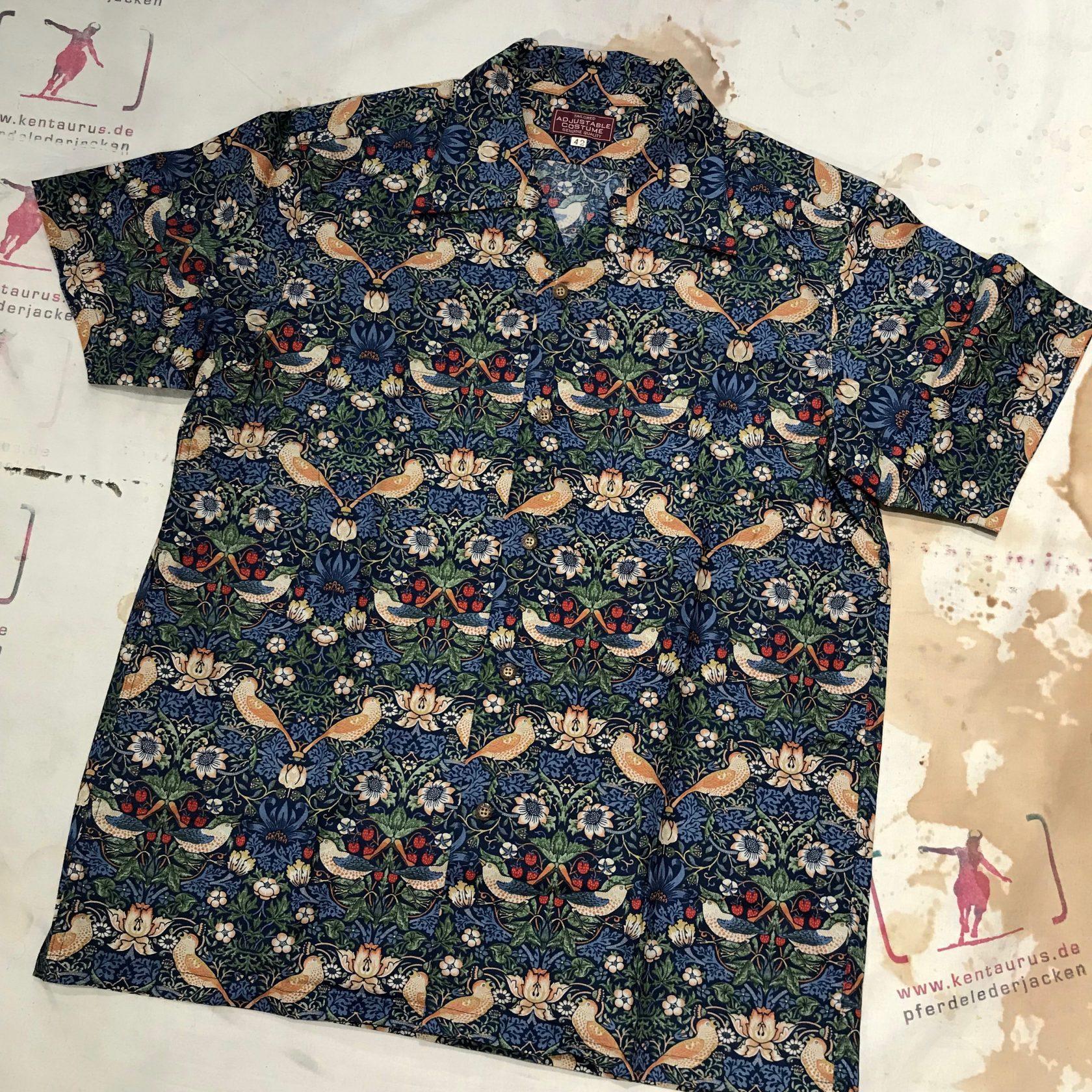Adjustable Costume open collar short sleeve shirt navy