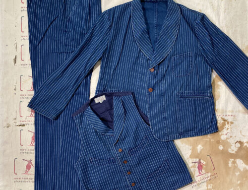 Adjustable Costume cottton duck wabash stripe 3 piece suit indigo
