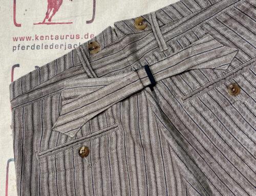 Adjustable Costume  linen stripe baggy pants beige
