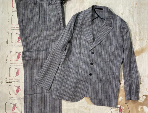 Adjustable Costume linen stripe pinch back jacket and gurkha pants navy