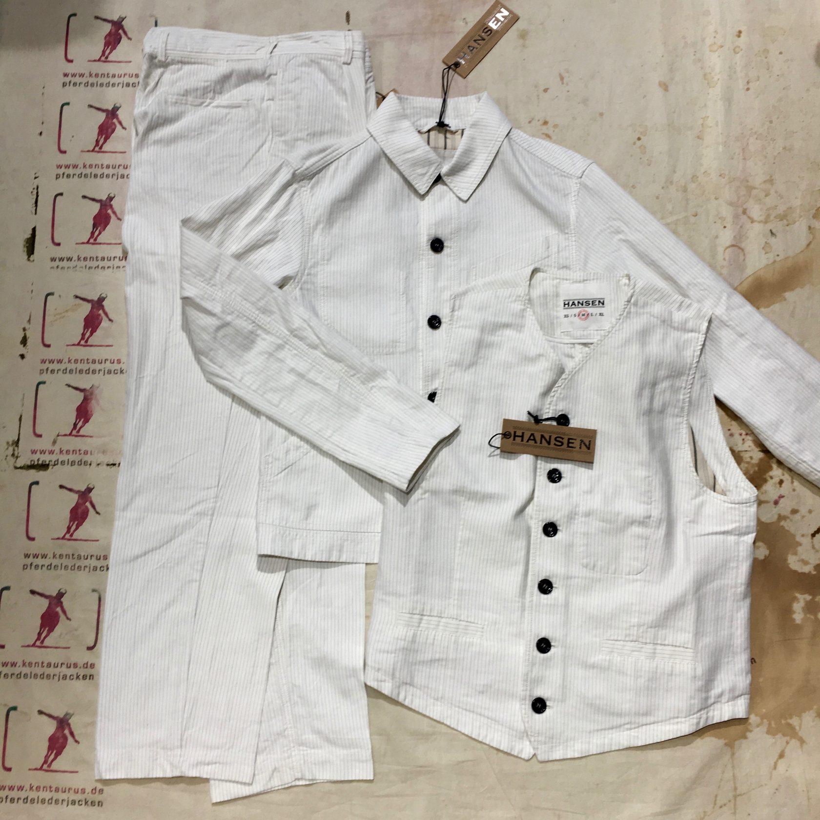 Hansen 3 piece work suit white pin