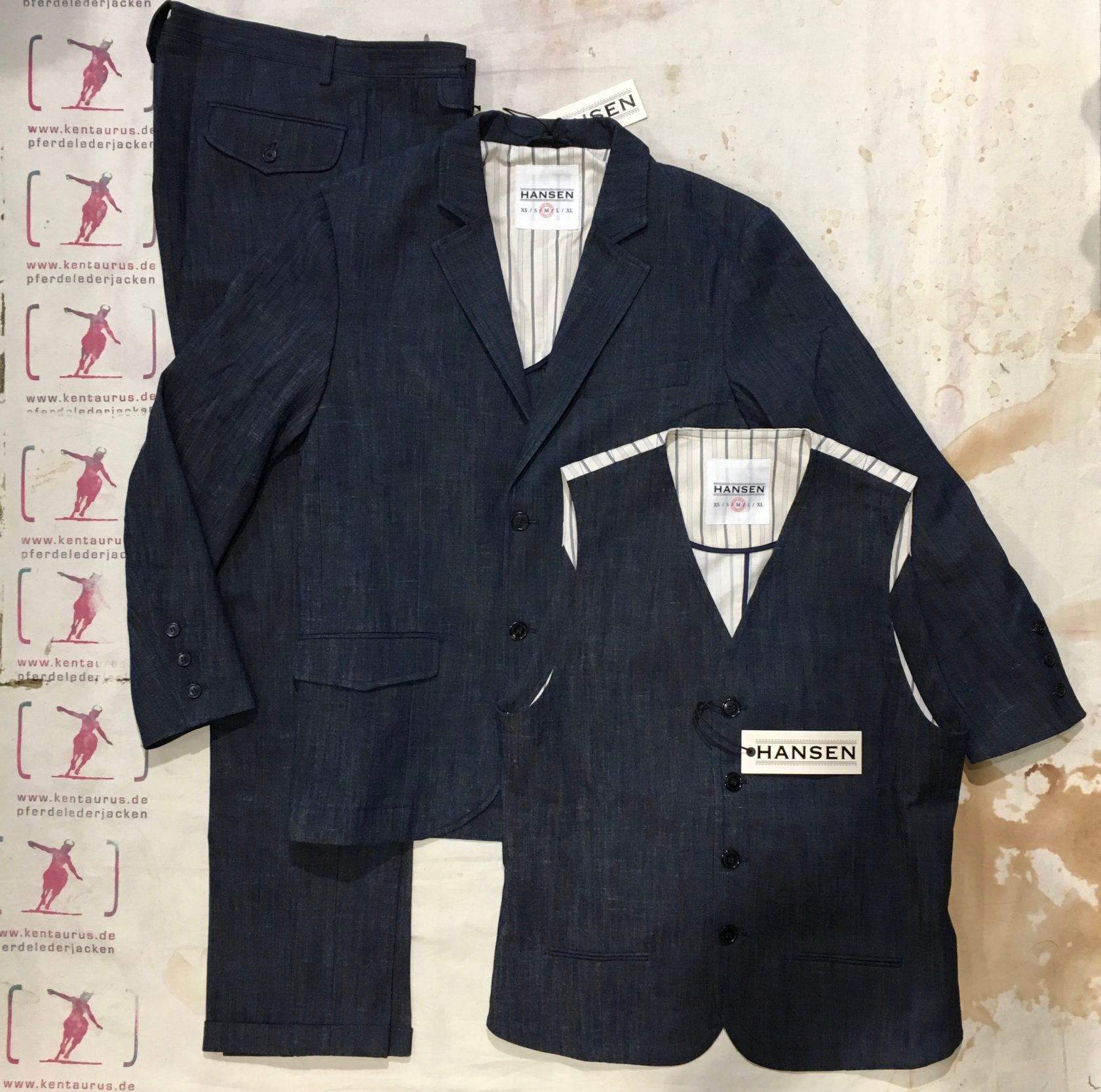 Hansen 3 piece suit real indigo