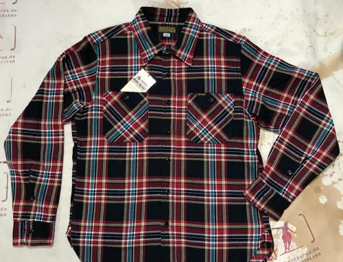 Iron heart : IHSH-238 black crazy flannel work shirt