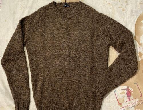 Hansen mattias knitted crew neck sweater tobacco brown