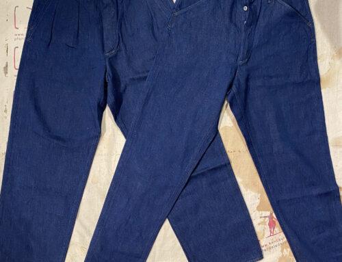 MotivMfg pleat denim trousers and denim pantaloon