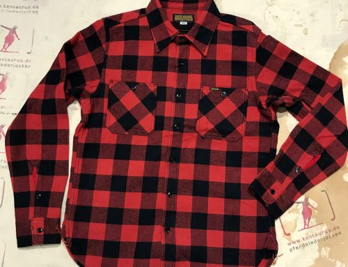 Iron Heart IHSH-244 RED buffalo check work shirt