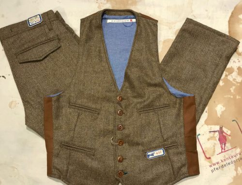 Scartilab herringbone wool vest and pant khaki