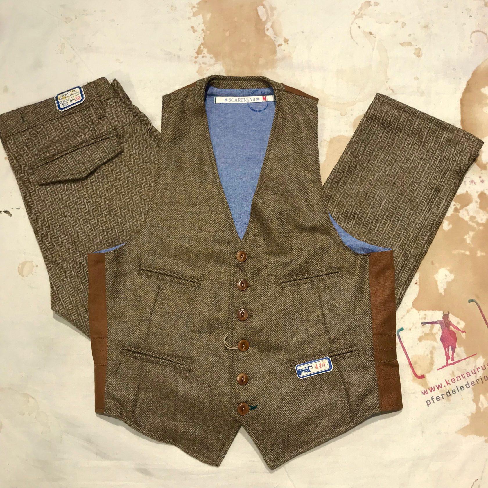 Scartilab herringbone wool vest and pant khaki