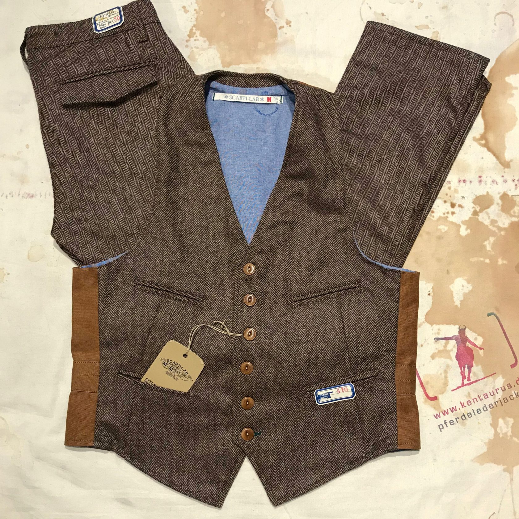 Scartilab wool vest and pant tobacco brown