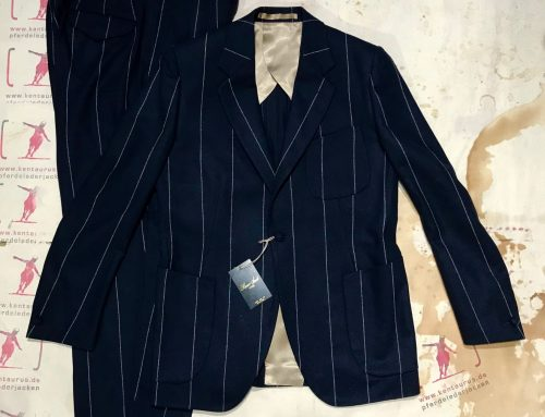 Haversack  blue 2 piece wool suit striped
