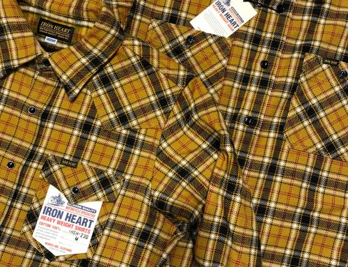 Iron Heart IHSH-242 work flannel shirt mustard