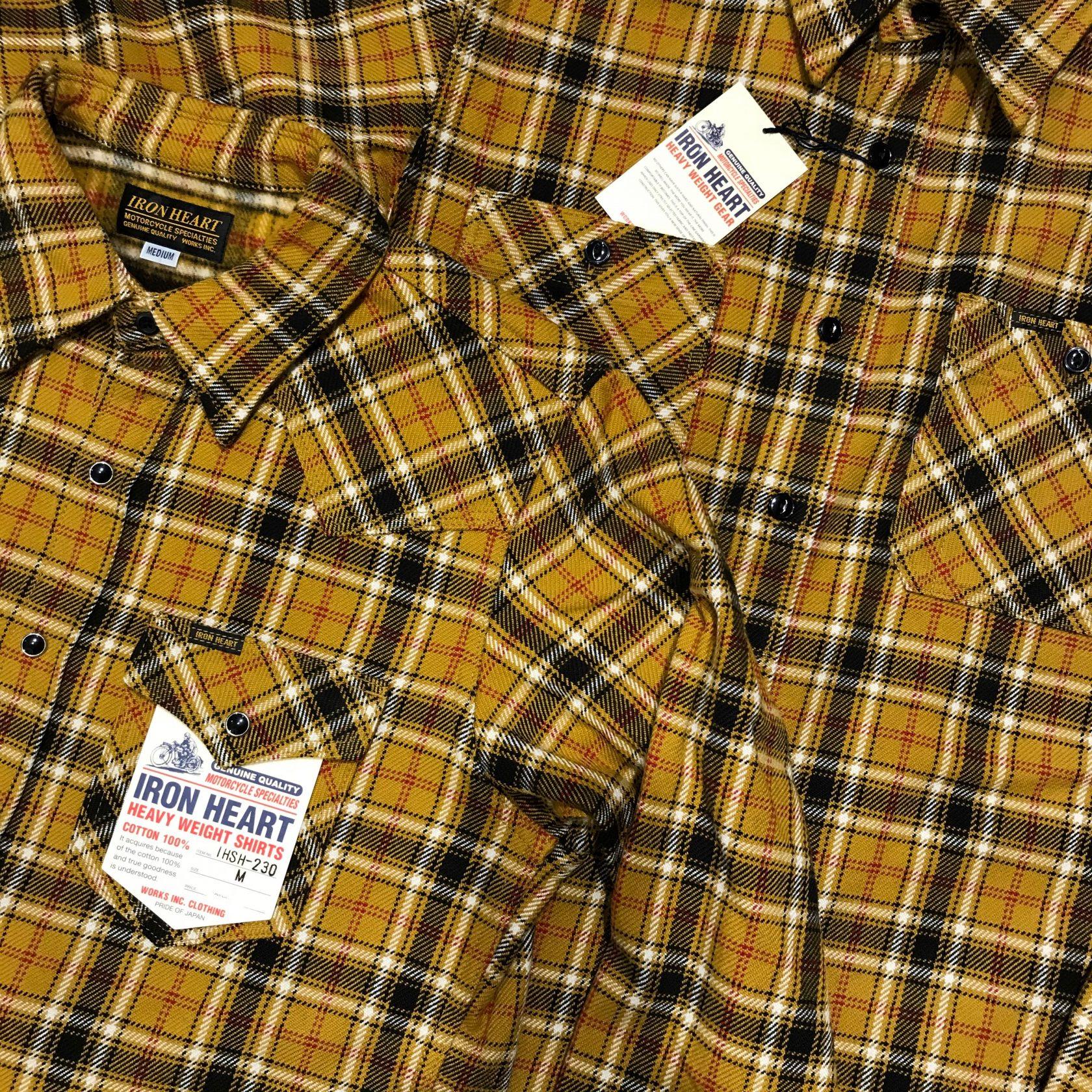 Iron Heart IHSH-230 western and IHSH-242 work flannel shirt mustard