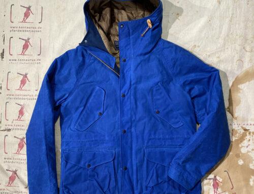 Ceccarelli new fisherman parka wax cotton mid blue wool padding