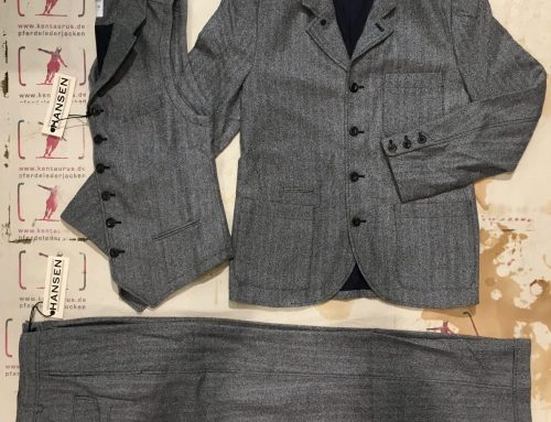 Hansen  3 piece wool suit herringbone grey
