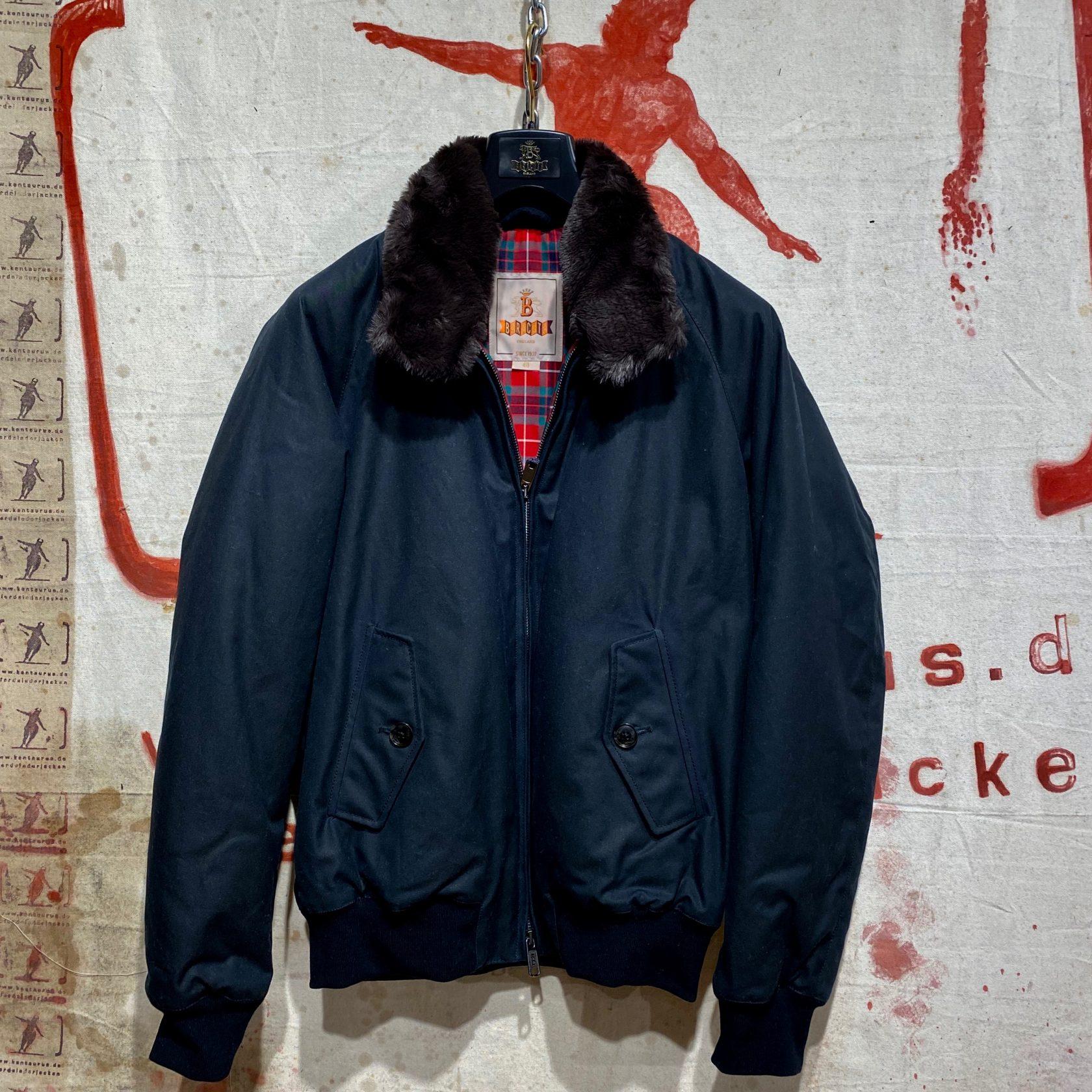 Baracuta G- 9 dark navy wax cotton fur collar