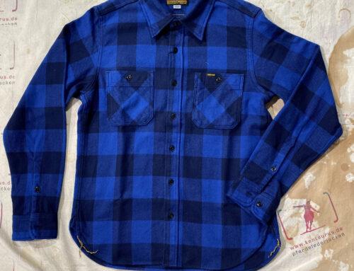 Iron Heart  IHSH-312-Ind ultra heavy flannel buffalo check work shirt indigo