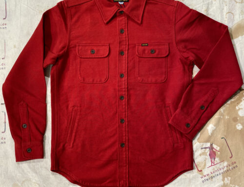 Iron Heart IHSH-305-Red 13 oz solid flannel CPO shirt
