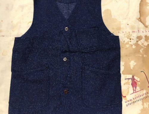Momotaro indigo tweed hunting vest