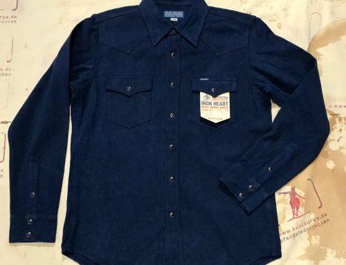 IHSH-188 navy cotton herringbone western shirt