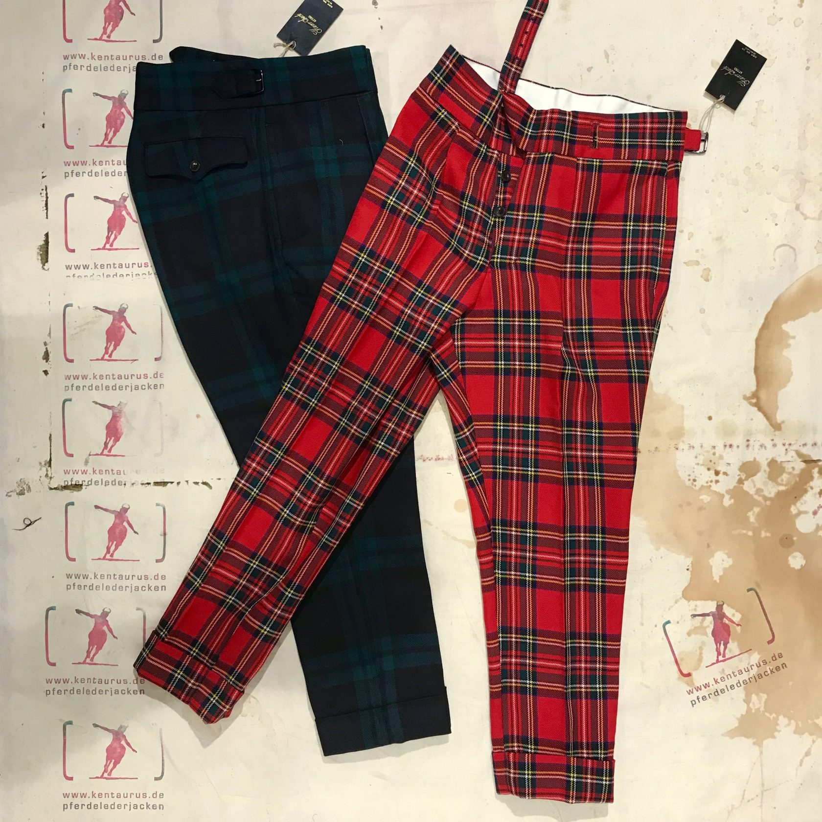 Haversack blue and red tartan pant