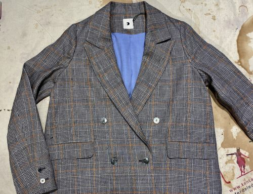 Delikatessen checkered linen jacket ladies