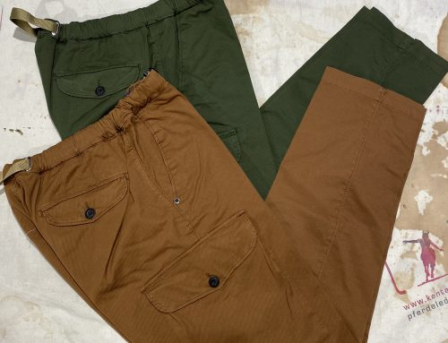 White Sand long cotton pants green and tan