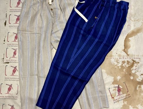 Haversack  linen pants blue and natural striped