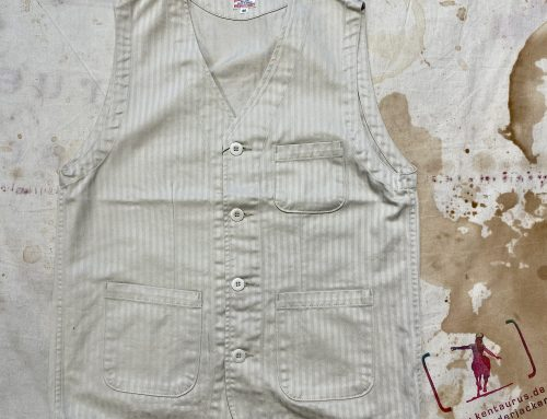 Momotaro 04-049 supima cotton herringbone vest natural