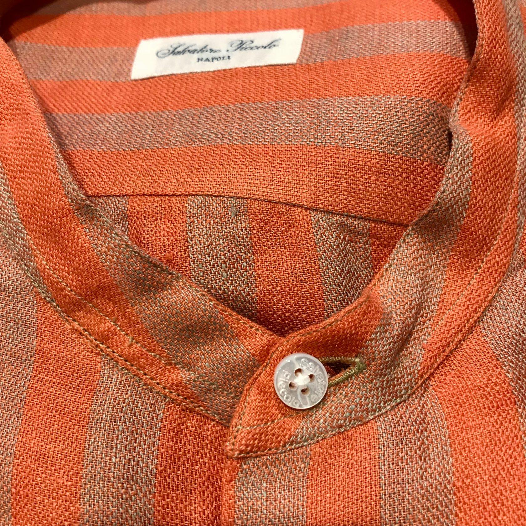 S. Piccolo R-VT/BE40 striped linen shirt