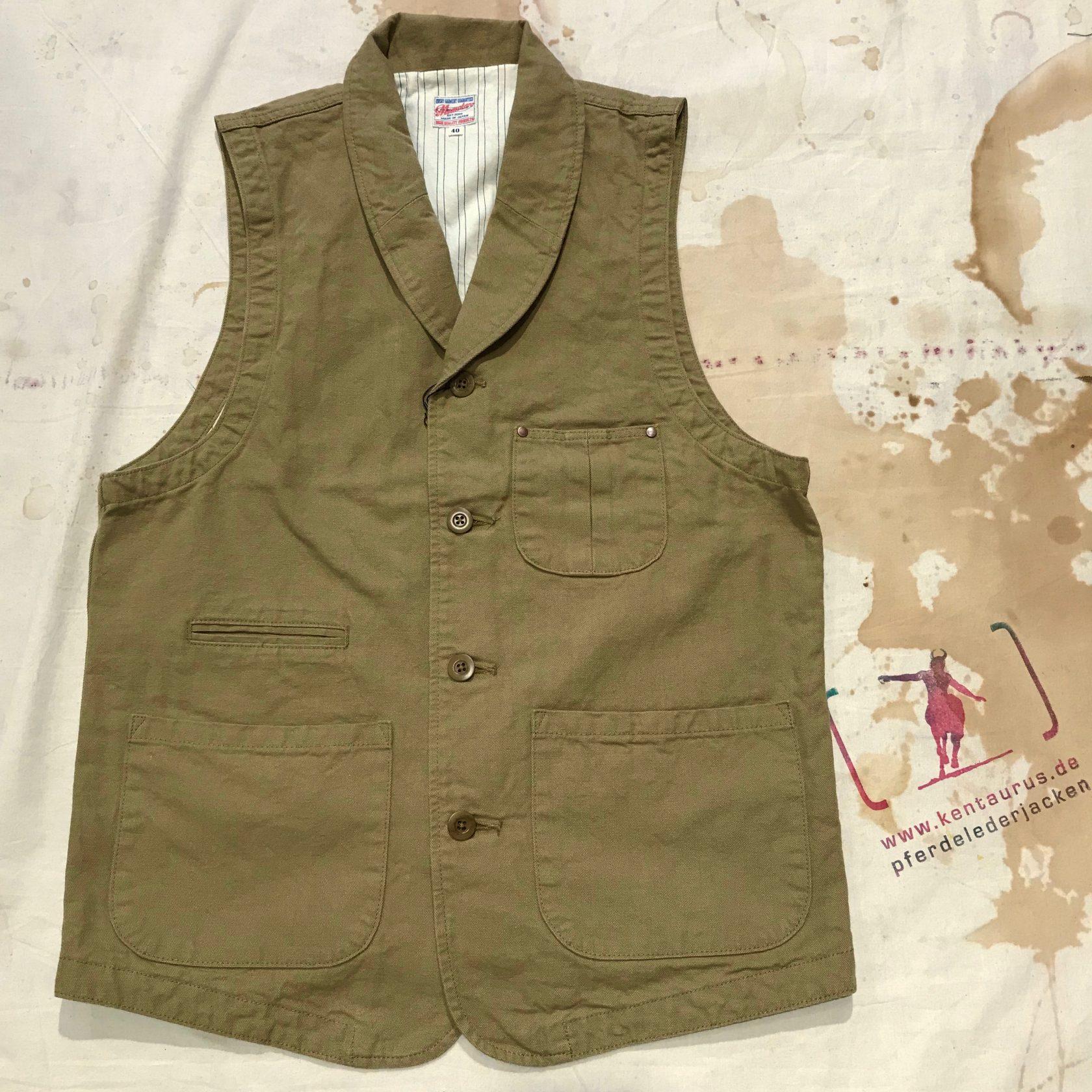 Momotaro 04-031 oxford vest beige