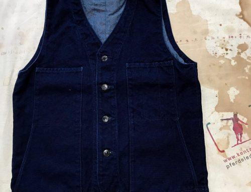 Momotaro 04-029 indigo canvas vest