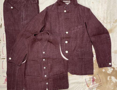 MotivMfg 3 piece belgian linen suit oxblood