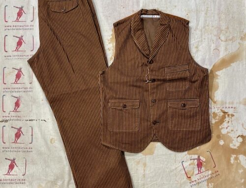 Scartilab striped cotton pant and vest brown