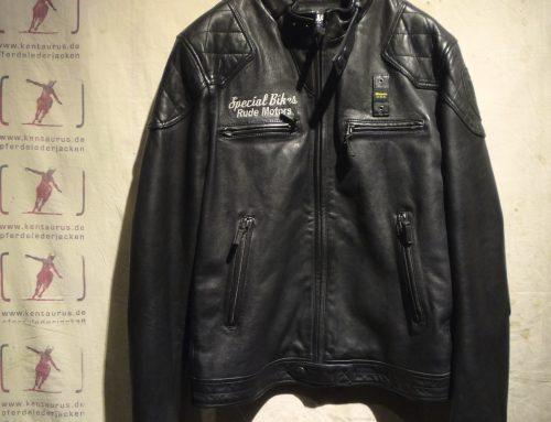 Stehkragen-Lederjacke schwarz