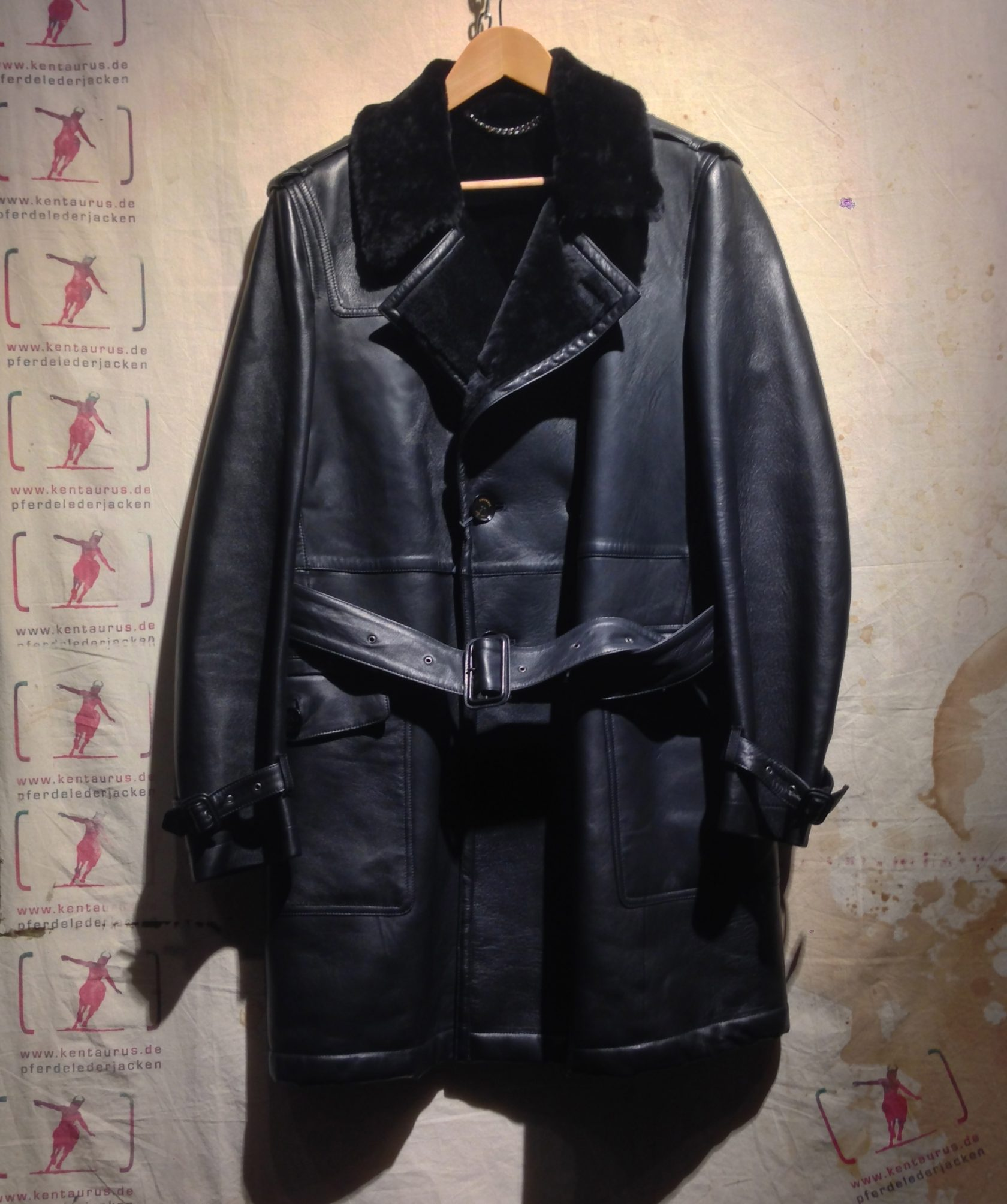 Crombie Leather Trench Black